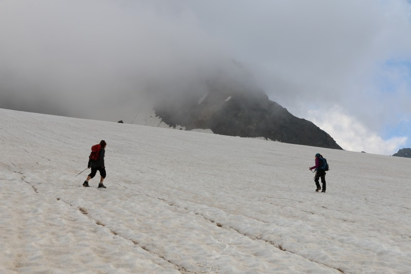 First measurements on a cloudy glacier