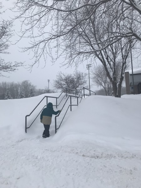 We often had to dig rails out... so much snow!